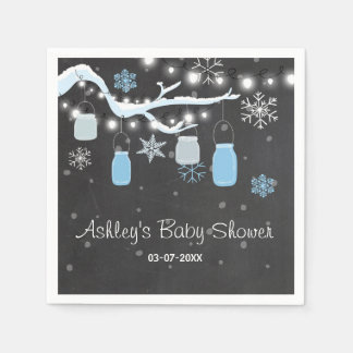 Winter Baby shower It's cold outside Blue Napkins