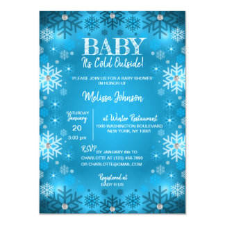 WINTER Baby Shower It's Cold Outside Snowflakes Card