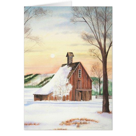 Winter Barn Blank Card