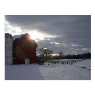 Winter Barn Postcard