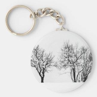Winter Basic Round Button Keychain