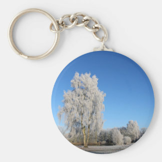 Winter Basic Round Button Keychain
