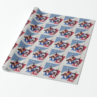Winter basset hounds wrapping paper