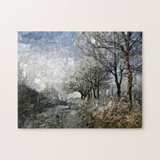 Winter Bayou Trees Landscape Watercolor Painting Puzzles