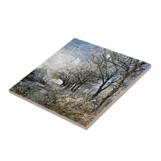 Winter Bayou Trees Landscape Watercolor Painting Tile