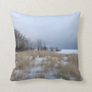 Winter Beach Landscape Accent Throw Pillow
