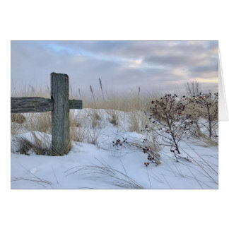 Winter Beach Landscape Blank Greeting Card
