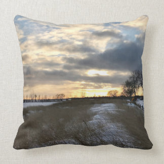 Winter Beach Sunset Landscape Accent Throw Pillow