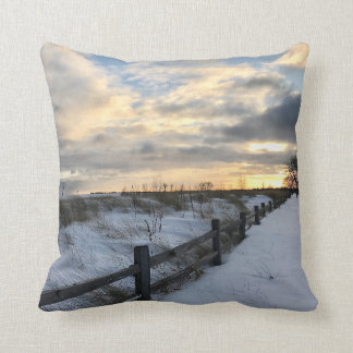 Winter Beach Sunset Throw Pillow