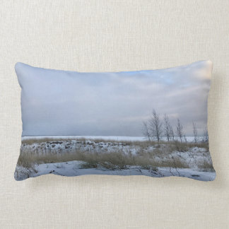 Winter Beach with Trees Scene Throw Pillow
