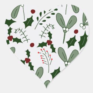 Winter berries heart sticker
