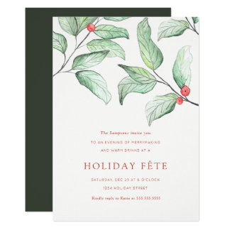 Winter Berries Holiday Party Invitations