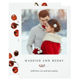 Winter Berries Married and Merry Photo Card