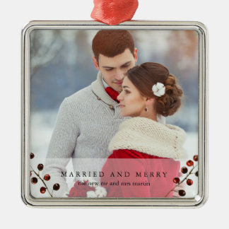 Winter Berries Married and Merry Photo Ornament