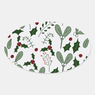 Winter berries oval sticker