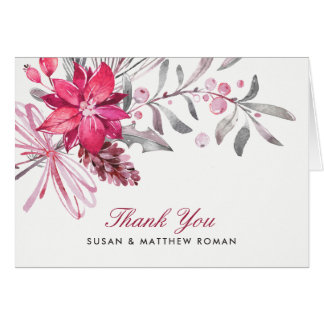 Winter Berries Red and Silver Wedding Card