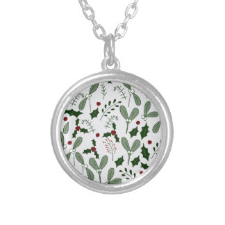 Winter berries silver plated necklace