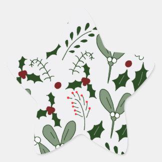 Winter berries star sticker