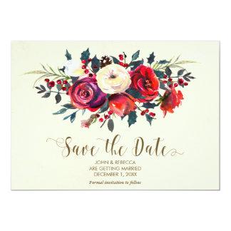 winter berries wedding save the date invitation