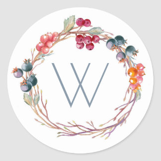 Winter Berries Wreath Christmas Classic Round Sticker