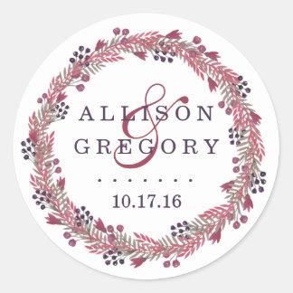 Winter Berry Wreath Wedding Classic Round Sticker