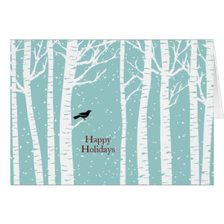 Winter Birch Birdy Christmas Holiday Greeting Card