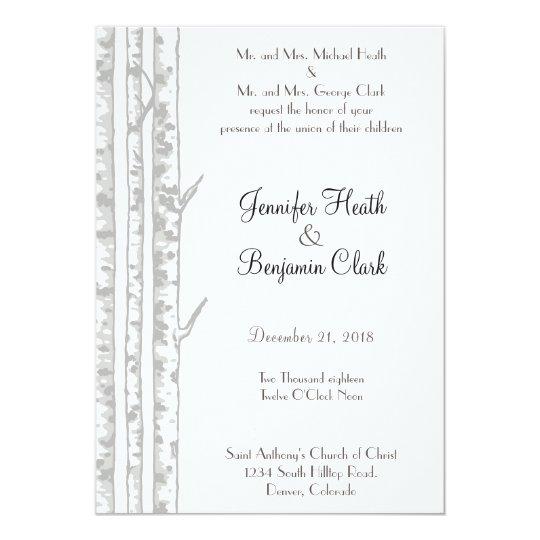 Winter Birch Wood Wedding Invitation