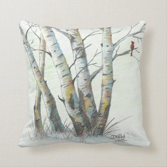 Winter Birches Coloured Pencil Art Throw Pillow