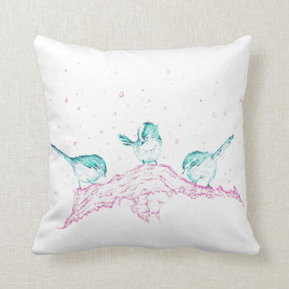 Winter birds art throw cushion - turquoise back