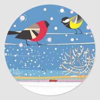 Winter Birds on a Wire Classic Round Sticker
