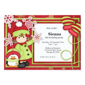 "Winter Birthday 5"" X 7"" Invitation Card"