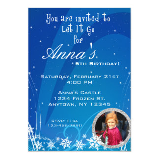 """Winter Birthday Invitation with Picture 5"""" X 7"""" Invitation Card"""