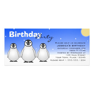 Winter Birthday Party Invitation w/ Baby Penguins