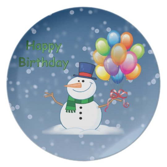 winter birthday snowman plate