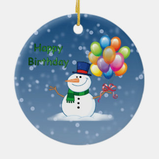 winter birthday snowman round ceramic ornament