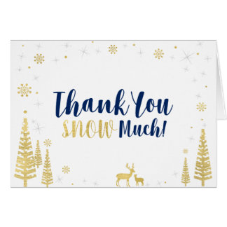 Winter Birthday Thank You Card - Black & Gold