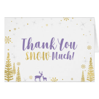 Winter Birthday Thank You Card - Purple & Gold