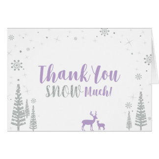 Winter Birthday Thank You Card - Purple & Silver