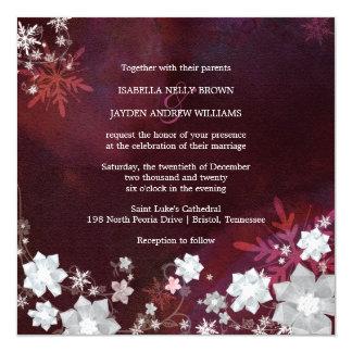 Winter Blings Merlot n White Wedding Invitation