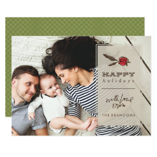 Winter Bloom Holiday Photo Card - Green