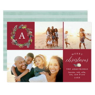 Winter Blooms Monogram Holiday Photo Collage Card