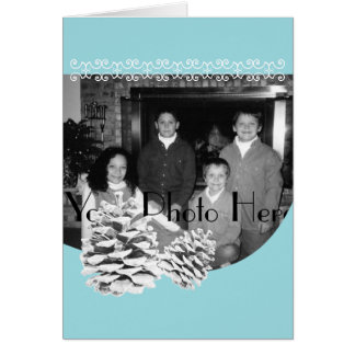 Winter Blue and Pinecones Photo Greeting Card