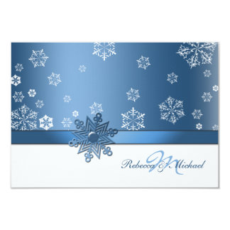 "Winter Blue and White Snowfalkes RSVP Cards 3.5"" X 5"" Invitation Card"