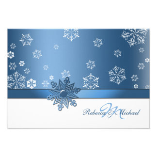 Winter Blue and White Snowfalkes RSVP Cards Personalized Announcement