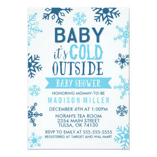 "Winter Blue Baby It's Cold Outside Baby Shower 5"" X 7"" Invitation Card"