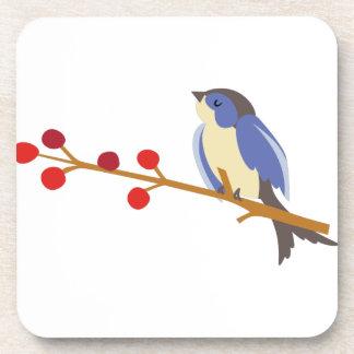 Winter Blue Bird On Branch Drink Coasters