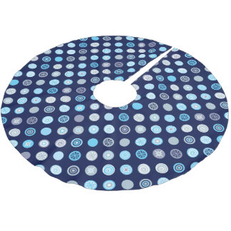 Winter Blue Dot Pattern Tree Skirt