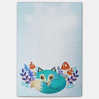 Winter Blue Fox Post-It Notes 4x6