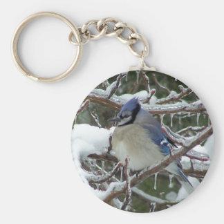 Winter Blue Basic Round Button Keychain