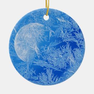 Winter Blue Moon Creative Photography Ceramic Ornament